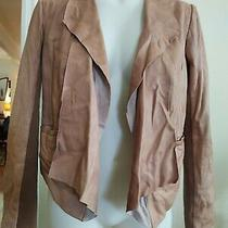 Womens Trouve Leather & Knit Open Drape Front Jacket Size S Tan Camel Brown Lamb Photo