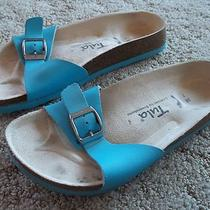 Womens Turquoise Birkenstock Tula Sandals Flops Shoes Cork Bed 38 7 Filled Foot Photo
