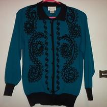 Womens Turquoise / Black Adolfo Collectibles Long Sleeve Top Size M  Euc Photo