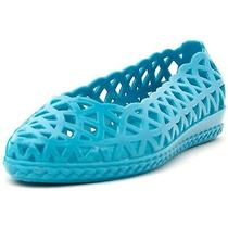 Womens Turquoise Jelly Flats Sz 8/39 Perforated Ballet Jeffrey Campbell Jam  Photo