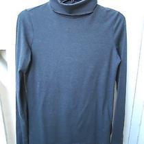Womens Turtleneck Blouse Medium H & M Divided 10 12 Cotton Gray Long Sleeve Photo