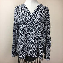 Womens Two Vince Camuto Small Leopard Print Blouse High Low Black White S Photo