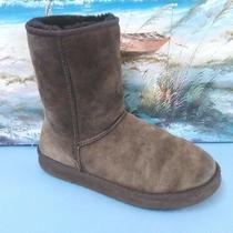 Womens Ugg Australia 5825 Classic Short Dark Brown  Suede Sheepskin Boots Size 9 Photo