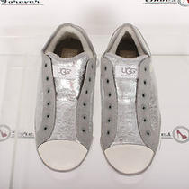 Womens Ugg Australia Signature  Metalic Silver Leather/sheepskin Keds/shoes Sz 8 Photo