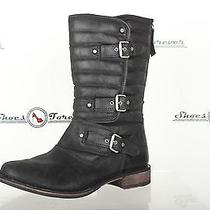 Womens Ugg Australia Stylish Black Leather Bikes Boots W/buckles Sz. 8 M Photo