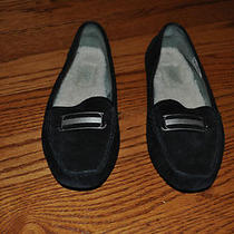 Womens Ugg Black Suede Leather Flats Shoes With Shearling Insoles Size 6.5 M  Photo