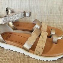 Womens Ugg Bronze Metallic Ankle Strap Toe Loop Strappy Sandals Size 5.5 Photo