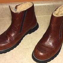 Womens Ugg Brown Leather Mid Zip Hiking Boots Insulated Sheepskin Size 8 Photo