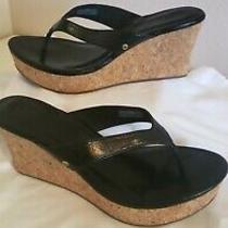 Womens Ugg Natassia Black Patent Leather Wedge Sandals Size 8.5 Photo