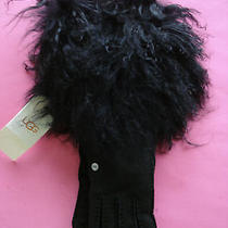Womens Ugg Shearling Long Pile Cuff Fur Gloves 3/4 Length Small New Photo