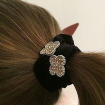 Womens Unique Swarovski Element Clover Gold Stone/black Velvet Ponytail Holder Photo