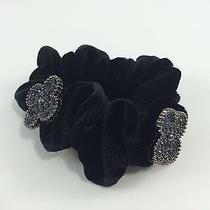 Womens Unique Swarovski Element Clover Nave Stone/black Velvet Ponytail Holder Photo