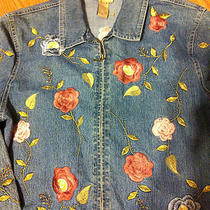 Womens United Apparel Denim Floral Embroidered Full Zip Jacket Mothers Spring  L Photo