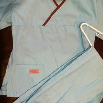 Womens Urbane Nursing/medical Aqua Blue Scrub Set Sz Xs Photo