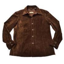 Womens Valerie Stevens Brown Suede Leather Western Shirt Jac Jacket Sz L Photo