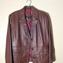 Womens Valerie Stevens Leather Basic Coat Brown and L Photo