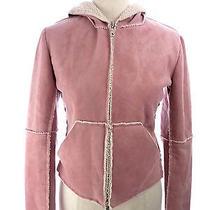 Womens Velvet Blush Rose Pink Sherpa Crop Hooded Jacket Small Photo