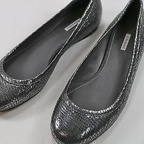 Womens Vera Wang 7 M Silver Python Embossed Leather Flats Photo