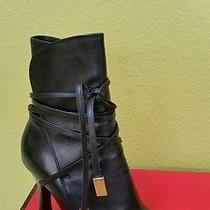 Womens Versace Black Leather Tie Up With Chains Sz 36 Boots Shoes Photo