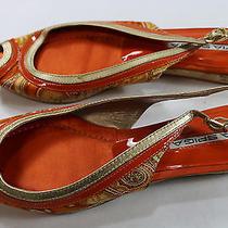 Womens via Spiga 7 M Orange Paisley Slingback Peep Toe Flats  Photo