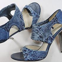 Womens via Spiga 9 M Blue Fabric Stretch Stiletto Heels Photo