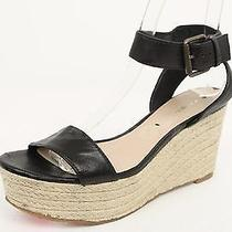 Womens via Spiga Black Leather Wedges Ankle Strap Sandals Sz. 6 Msrp 195 Photo