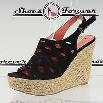 Womens via Spiga Black Suede Wedges Sandals Shoes Sz. 9 M Great Photo