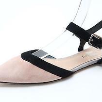 Womens via Spiga Blush Pink Black Suede Ankle Strap Flats Sz. 7.5 New 175 Photo