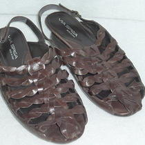 Womens via Spiga Brown Leather Woven Sandals 8 M Photo