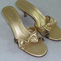 Womens via Spiga Gold Bow Heels 7 M Leopard Ponyhair Strap Sandals Photo