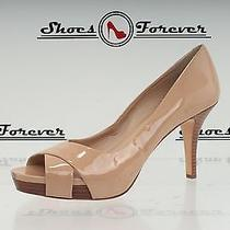 -Womens via Spiga Nude Patent Leather Open Toe Pumps Sz. 10 N Photo