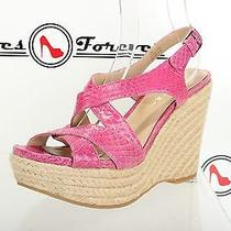 Womens via Spiga Pink Patent Leather Strap Sandals Wedges Shoes Sz. 7.5 M New Photo