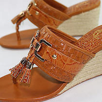 Womens Vince Camuto 39 Sz 9 M Twine Croco Tassel Wedge Sandals Photo
