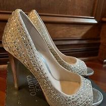 Womens Vince Camuto 7m Blush Color Open Toe Heels Shoes Rhinestones Lexis Pumps  Photo