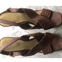 Womens Vince Camuto Brown Leather Strappy Sandals Heels Size 10m Photo