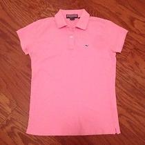 Womens Vineyard Vines Preppy Pink Polo Navy Blue Whale Small Euc Photo
