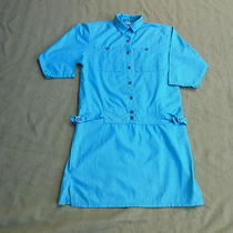 Womens Vintage 70s Mini Dress Size 9 Side Ties 3/4 Sleevesaqua 3
