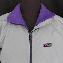 Womens Vintage Retro Patagonia Original Shelled Synchilla Jacket Gray Medium Photo