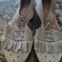 Womens Vintage Shoes Size 10 Campbell Ibiza Leather Open Oxford Tan/cream Fringe Photo
