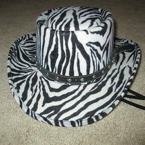 Womens Western Express Cowgirl Hat Sz 7 1/2 Zebra Pattern Euc  Photo