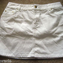 Womens White h&m Stretch Mini Jeans Skirt 10 Photo
