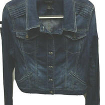 Womens White House Black Market Blue Jean Cropped Fitted Denim Jacket Xl 16 Photo