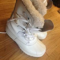 Womens White Manitou Kaufman Sorel Winter Snow Boots Felt Lining Sz 6 Uggs Photo
