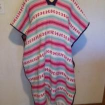 Womens Woven Rug Poncho Striped Pink Teal Aqua White Southwest Serape Afghan Photo