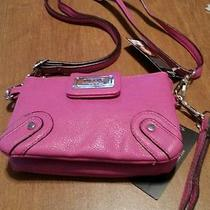 Womens Wrist Clutch by Nicole Miller Pink Leather Wrist & Shoulder Straps New Photo
