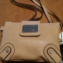 Womens Wrist Clutch by Nicole Miller Tan Leather Wrist & Shoulder Strapsnew Photo