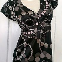 Womens X-Small Express Short Sleeve Black Shirt Top Blouse Rn55285 Id 42488 Cute Photo