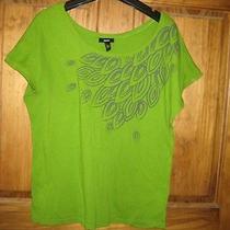 Womens Xl Mossimo Dolman Sleeve Green Gray Printed Tee Tshirt Look Photo