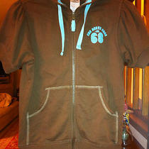 Womens Xs North Face Short Sleeve Hoodie Sweatshirt Full Zip Brown Aqua Blue  Photo