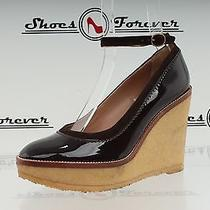 Womens Ysl Yves Saint Laurent Brown Patent Leather Wedges Ankle Strap Sz. 36 M Photo